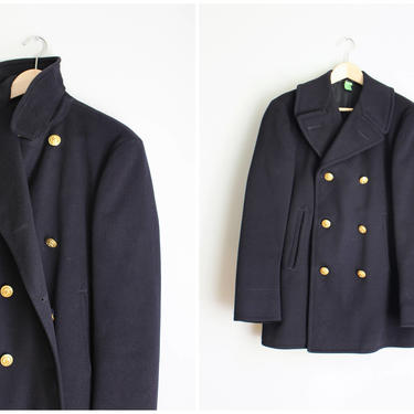vintage Navy pea coat - navy blue wool reefer coat / vintage 1960s military  coat / Naval Officer pea coat - gold buttons - 36 by AgeofMint