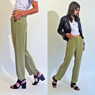 vintage 90s silk trouser sage green high waisted minimalist slouchy pants 1980s casual 1990s 90s pockets high waist easy fit by levintagecult
