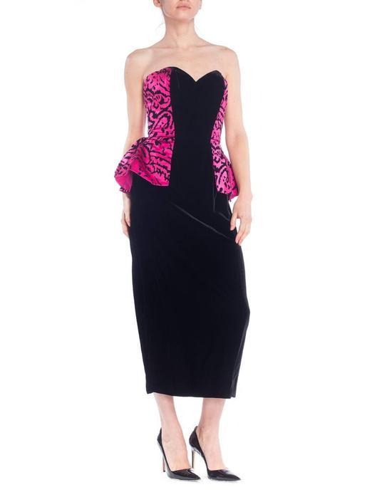 1980S Vicky Tiel Hot Pink  Black Silk Satin Velvet Strapless Peplum Skirt Cocktail Dress by SHOPMORPHEW