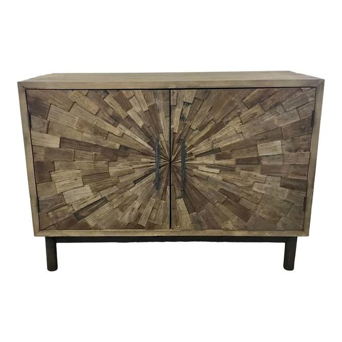 Industrial Modern Reclaimed Wood Mosaic Sunburst Chest