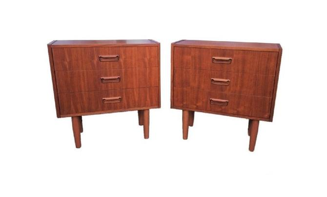Mid Century Modern Danish Mobler Teak Pair of Nightstands End Table Set with Sculpted handles (PureVintageNYC) by PureVintageNYC