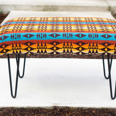 OTTOMAN/FOOTSTOOL - Made with PENDLETON Wool - Mid-Century Modern Hairpin Legs Turqouise Desert Sunset by CovetModernDesign