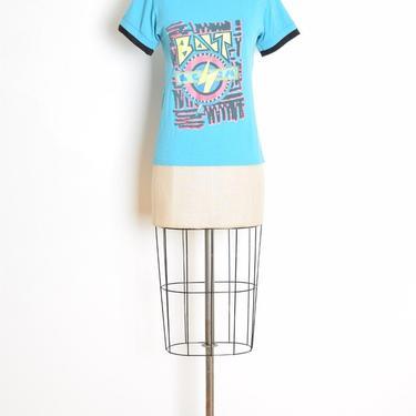 vintage 80s t shirt blue neon print lightning bolt baby tee top clothing XS by huncamuncavintage