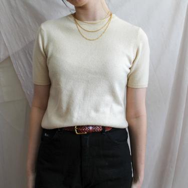 Vintage Sweater/ Short Sleeve Sweater/ Cashmere/ Lord and Taylor/ Cream Sweater/ Cream Shirt/ Tall Fashion/ Menswear/ Medium/ Large by highwvintage