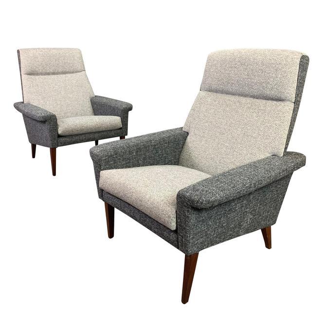Pair of Vintage Danish Mid Century Modern Lounge Chairs by AymerickModern