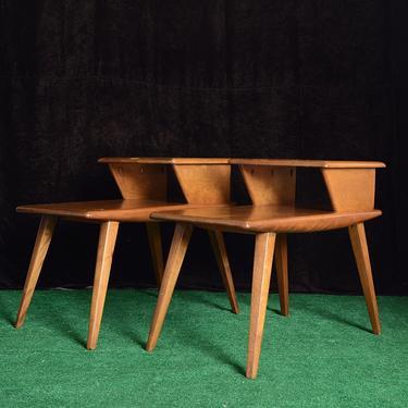 pair of vintage Heywood Wakefield two tier end tables by fingerlickingvintage