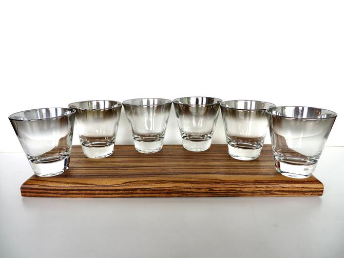 6 Silver Fade 4oz Cocktail Glasses, Vintage Vitreon Queens Lustreware Small Cordials, Mid Century Modern Silver Double Shot Glasses by HerVintageCrush