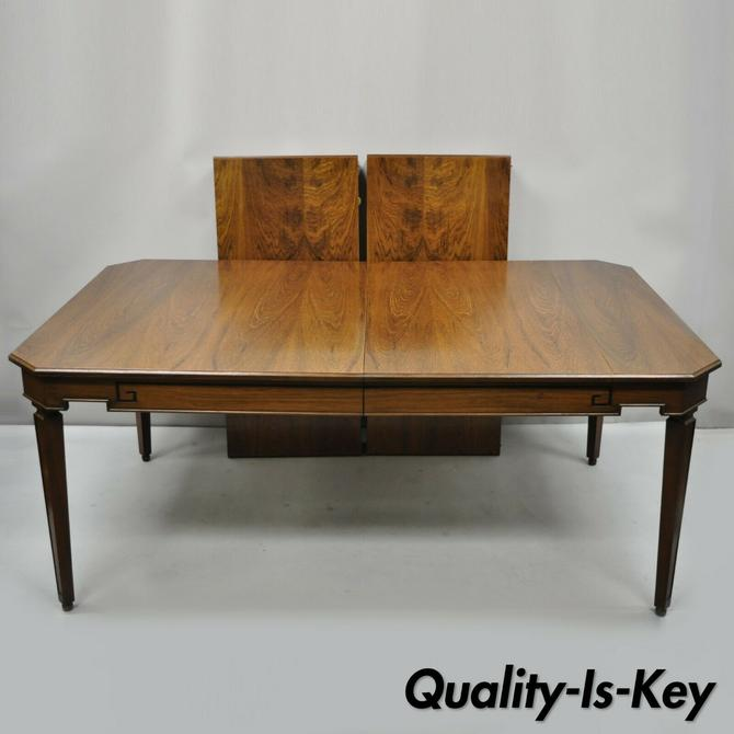 Antique Art Deco French Style Rosewood 7 Walnut Dining Room Table with 2 Leaves