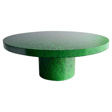 Custom Lacquered Faux Malachite Dining Table