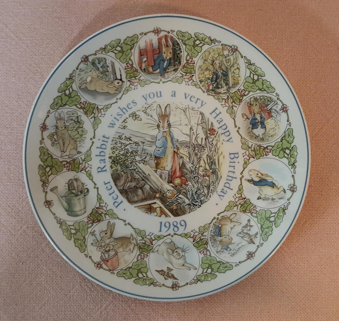 Vintage Beatrix Potter Nursery Ware 1989 Peter Rabbit Birthday Plate By Wedgwood by OverTheYearsFinds