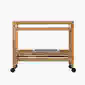 danish modern bar cart on wheels