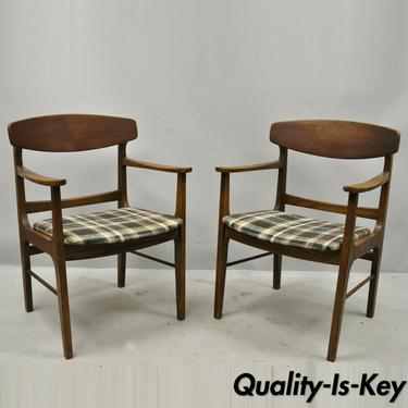 Mid Century Modern Walnut Oak Sculptural Curved Back Dining Arm Chairs - a Pair