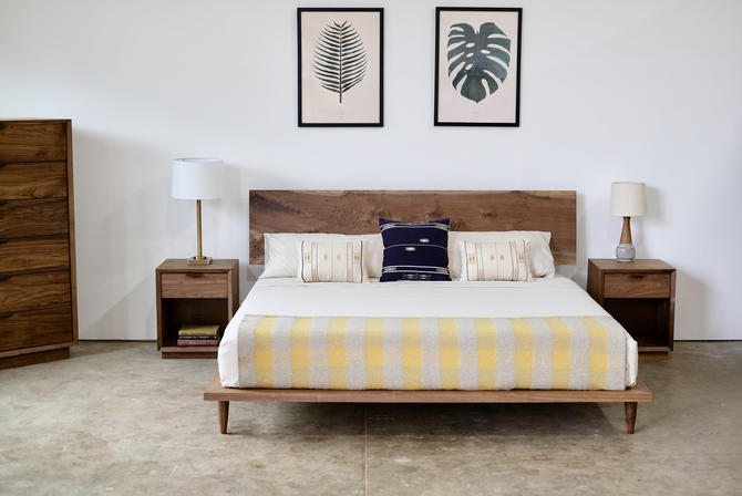 Walnut Platform Bed, Solid Wood Modern Furniture, Hand Crafted Bed Frame and Headboard by BeautyBreadWoodshop