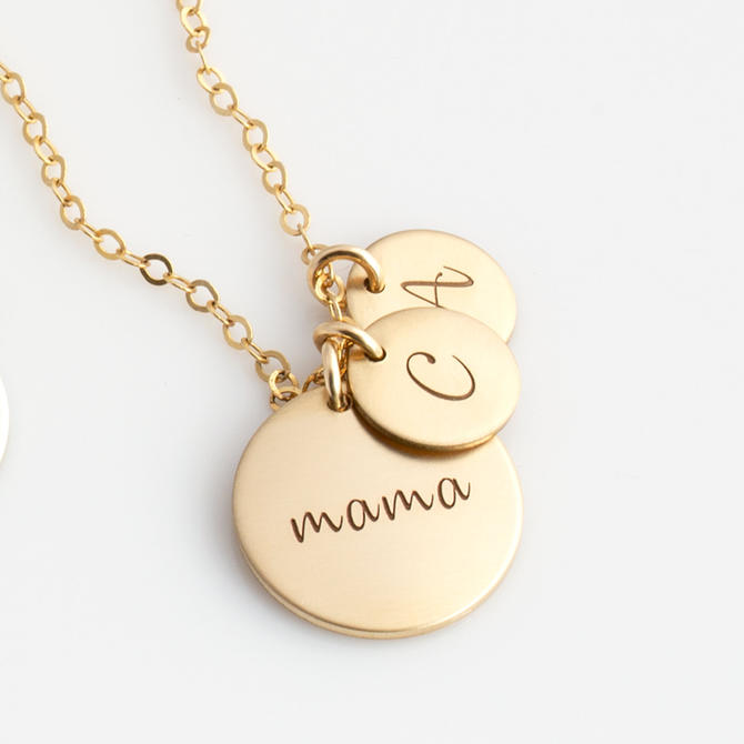 Gold Disc Necklace for New Mom - Mom Necklace - Personalized Necklace for Mom - Birth Flower Mom Necklace - Kids Initials Necklace by LEILAjewelryshop