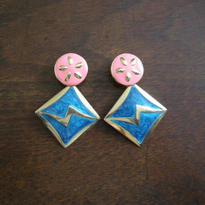 Vintage Enamel Earrings - Pink and Blue