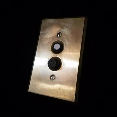 Vintage Push Button Light Switch with Brass Plate
