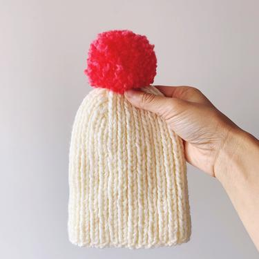 Little Minnows Hand Knit Baby Beanie Hat // Off White with Fuchsia Pompom by mammothandminnow