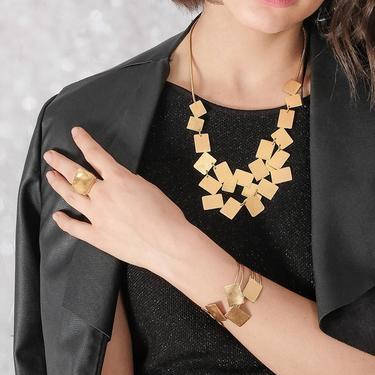Statement Square Ring, Adjustable Geometric Ring, Gold Rectangular Ring, Modern Open Back Square Ring, Elegant Gold Ring, Golden Square Ring by OrlySegal