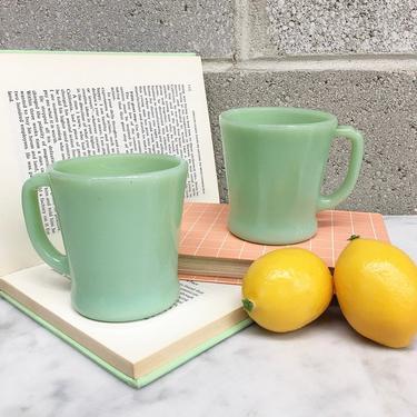 Vintage Fire-King Mugs Retro 1940s Mosser Glass + Jadeite + Set of 2 Matching + Flat Bottom Shaving Mug + D-Handle + Home and Kitchen Decor by RetrospectVintage215