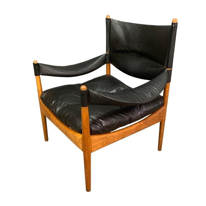 "Vintage Danish Mid Century Modern ""Modus"" Lounge Chair in Oak & Leather by Kristian Vedel by AymerickModern"