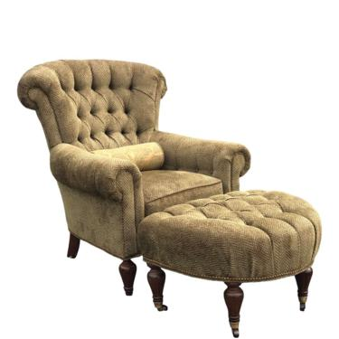 Taylor King Tufted Chenille Club Chair and Ottoman by 2ndStoryTradingCo