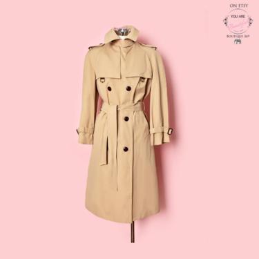 Vintage Etienne Aigner Classic Trench Coat 1970's Designer Tan beige Brown Womens & Mens Size 10P Overcoat Hippie Boho Disco era by Boutique369