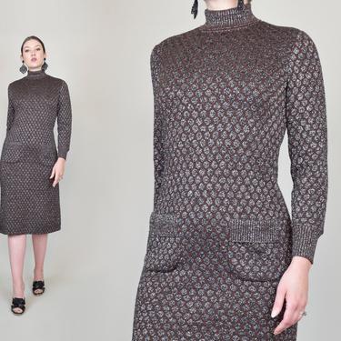 1960's Lurex Knit Sweaterdress   Kimberly Knit Dress by WisdomVintage