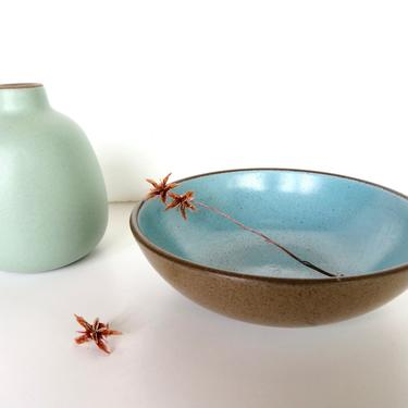 3 Vintage Heath Ceramics Small Berry Bowls In Nutmeg and Turquoise, Rare Edith Heath Coupe Dessert Bowls in Aqua and Brown by HerVintageCrush