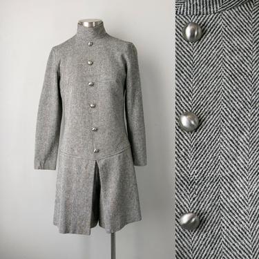 1960s Romper Harringbone Wool Mod XS by dejavintageboutique