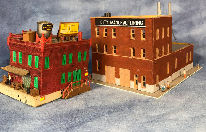 Vintage American Industrial Buildings, Manufacturing Completed N Scale  Models, Smokestacks Watertower by VintageGoofball