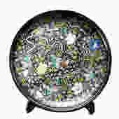 Chinese Black Color Phoenix Porcelain Plate Display vs810E by GoldenLotusAntiques