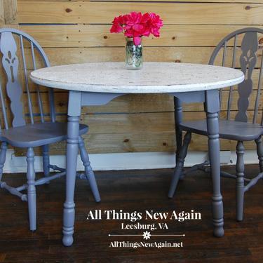 Small Gray Kitchen Table | Small Farmhouse Kitchen Table | Small Dining Table and 2 Chairs | Kitchen Nook Table | Breakfast Nook Table by AllThingsNewAgainVA