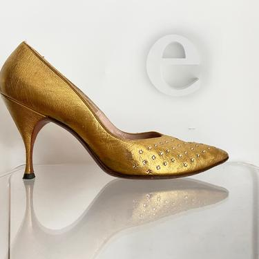 Gold Leather + Rhinestone Pumps! • Vintage 50s 60s Sexy Stiletto Heels • Rockabilly Pin Up Burlesque • High Heel Shoes •  7 or 7-1/2 7.5 by elliemayhems