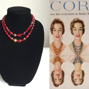 A Bit of Red Bling - Vintage 1950s True Ruby Red Aurora Borealis Cut Crystal 2 Strand Necklace by RoadsLessTravelled2
