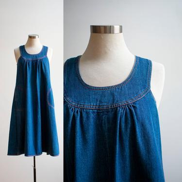 Vintage 1970s Denim Jumper Dress / Vintage Denim Dress / A line Dress / Trapeze Dress / Denim Tent Dress / Vintage 1970s Denim Dress Medium by milkandice
