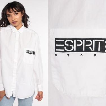 Esprit Shirt STAFF White Oxford Shirt Button Up Shirt 80s Cotton Long Sleeve Plain Shirt 90s Shirt Vintage Medium by ShopExile
