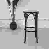Vintage Black Wicker Barstool