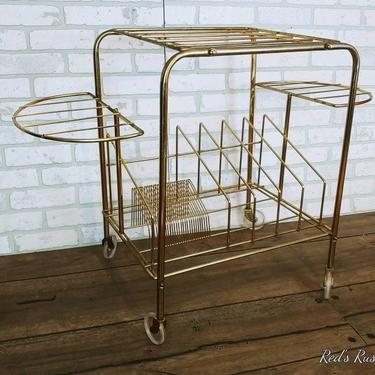 Mid Century Brass Wire Record Rack Stereo Stand with Wheels by RedsRustyRelics