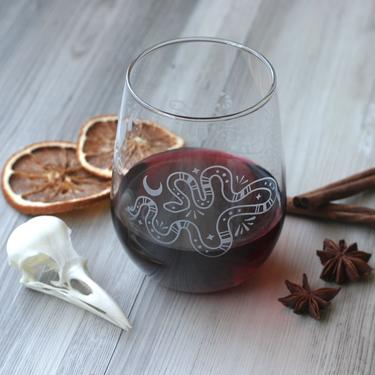 Snakes + Lunar Cycle Stemless Wine Glass - dishwasher-safe, engraved by BreadandBadger