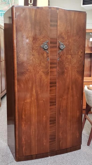 Item #S2033 Classic Burl Walnut Armoire c.1940s