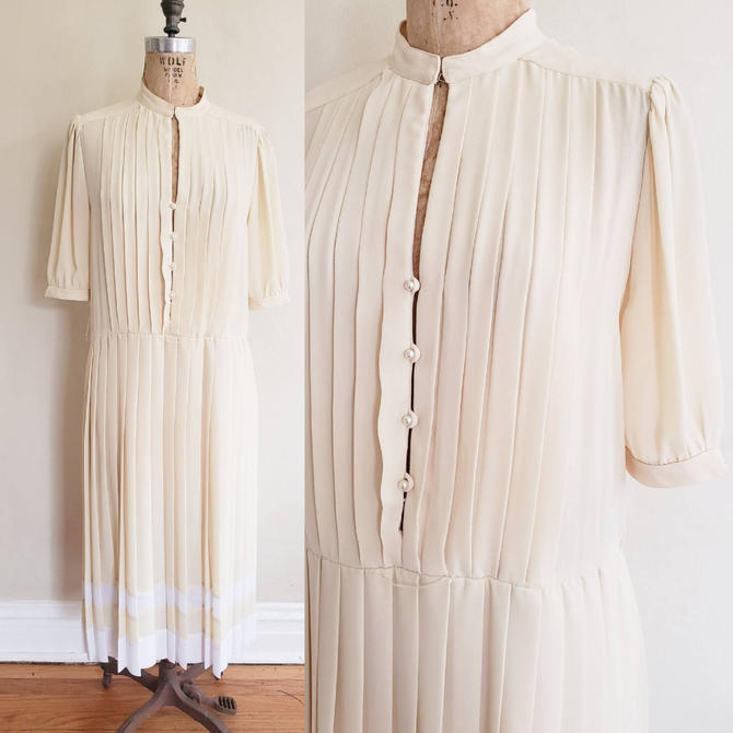 1980s Pale Yellow Pleated Dress White Striped Skirt / 80s Short Sleeved Button Down Dress / Large / Etienne by RareJuleVintage