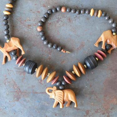 Vintage African Safari Carved Wood Boho Necklace by circlethesquare
