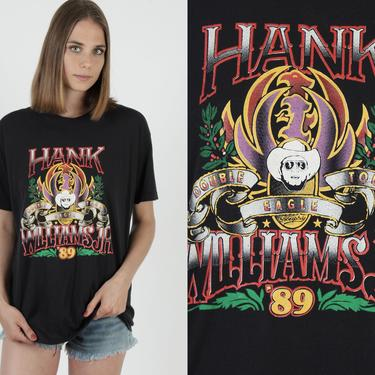 Vintage Hank Williams Jr T Shirt / 1989 Bocephus Outlaw Country / Double Eagle Tour Tee / Country Western Black 50 50 T Shirt by americanarchive