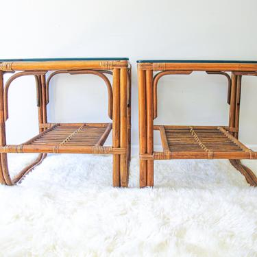 Set of 2 Beautiful Sunrise Bamboo Side Tables with Thick Glass Tops by PortlandRevibe