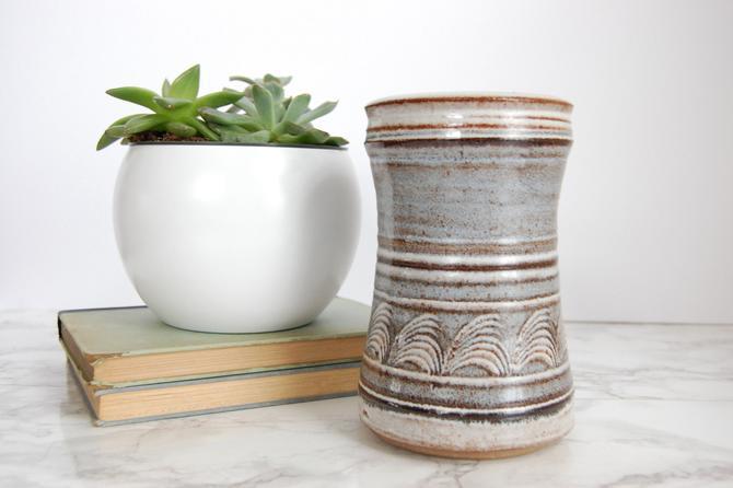 Studio Pottery Vase Vintage  Mid Century Pottery Cylinder Canister Catchall Boho Decor by PursuingVintage1