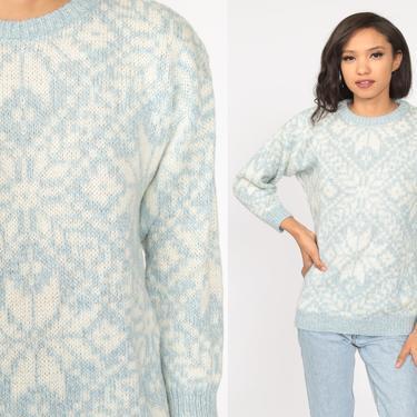 Snowflake Sweater Wool Blend Sweater Fair Isle Sweater 80s Baby Blue Cream Nordic Ski Bohemian Knit Sweater Ski Sweater Pullover Medium by ShopExile