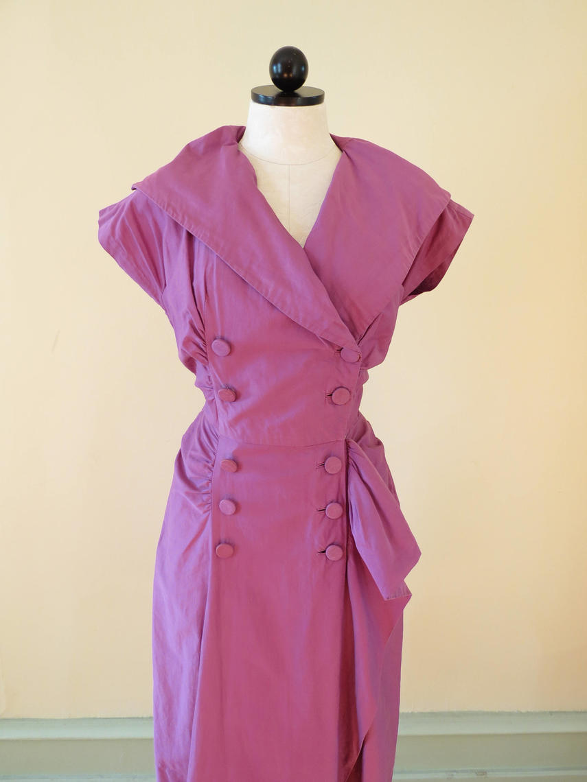 Vintage 1950 S Dress Wiggle Dress Purple Dress