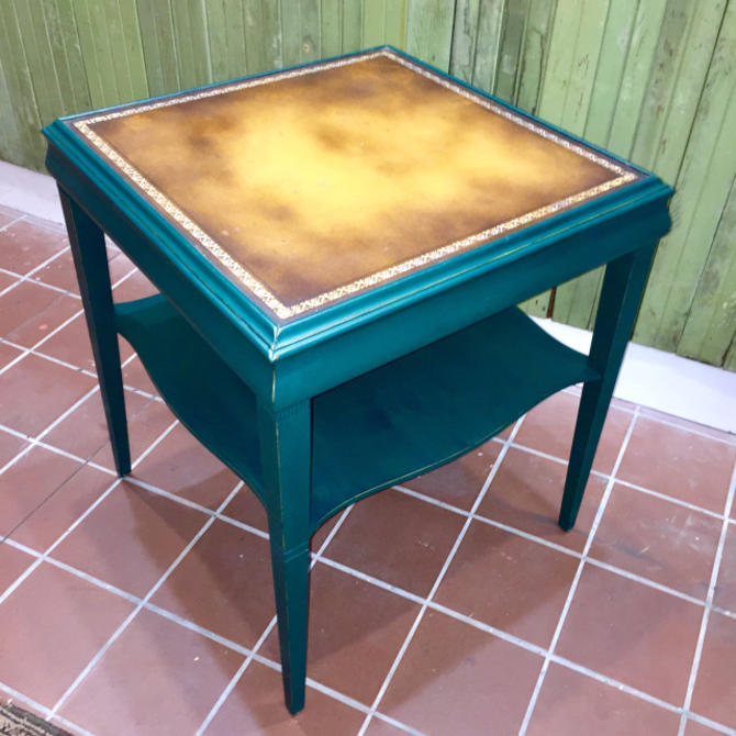 Painted Leather Top Stickley Side TAble