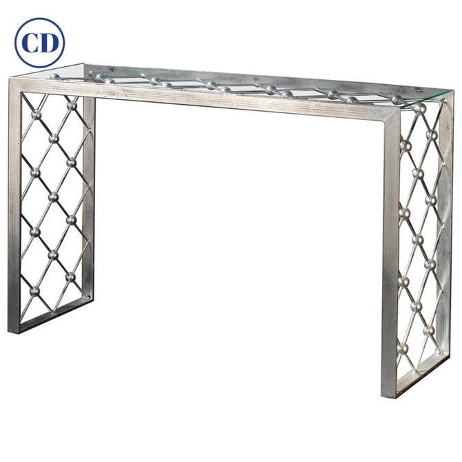 Italian Modern Industrial Design Criss Cross Fretwork Iron Console / Hall Table