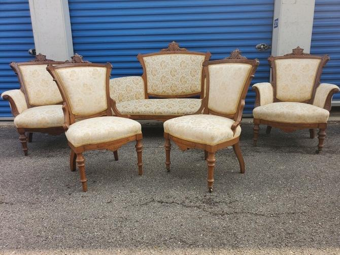 Antique Late 1800s Victorian All Original Eastlake 5pc Gently Used Hand-carved Walnut Parlor Set - Set of 5